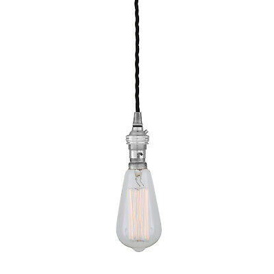 Vintage Ceiling Pendant Braided Fabric Cable Chrome, B22 Lamp Holder • 12.50£