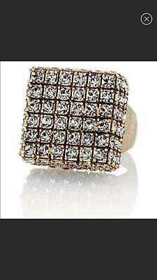 $ CDN25 • Buy Lia Sophia Kiam Collection Cubist Ring Antique Gold W/ Sparkling Crystals Size 7