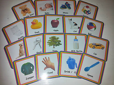 £4.48 • Buy Baby First Words - 16 Flash Cards - 2 Sizes - Picture + Word - Special Needs