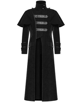Punk Rave Mens Highwayman Coat Long Jacket Black Velvet Faux Leather Steampunk • 109.99£