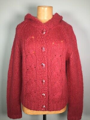 $ CDN50.95 • Buy Anthropologie Sleeping On Snow Hooded Cardigan Sweater Mohair Blend Buttons Sz L
