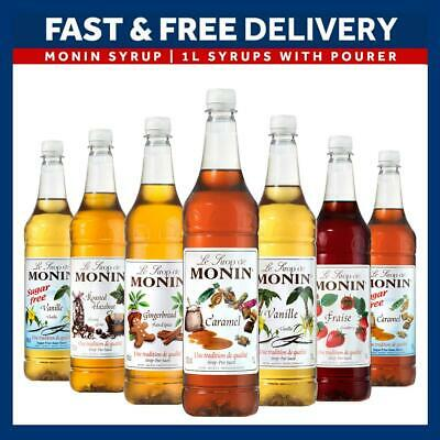 Monin Syrup Plastic 1L Bottle Range  AS USED BY COSTA Add Pourer • 10.85£