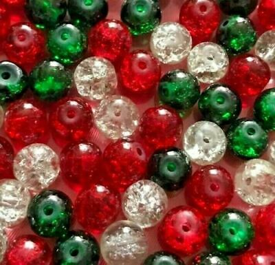 £2.25 • Buy Christmas Mix Crackle Glass Beads Red Green Clear Festive 4mm 6mm 8mm