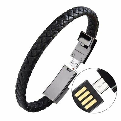 $4.39 • Buy Portable Leather Mini Bracelet Data Charging Cable For Type-C/Android/iPhone