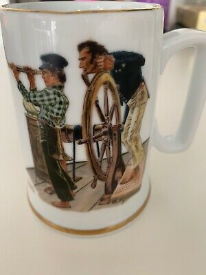 $ CDN12 • Buy Norman Rockwell Coffee Mug Cup River Pilot 1985 Mississippi River Captain Sailor