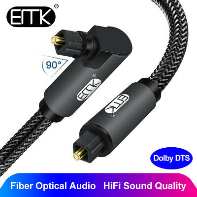 $24.38 • Buy EMK Optical Audio Cable Right Angle Toslink To Toslink Digital Fibre Optical 1m