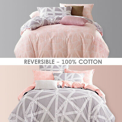 AU49 • Buy All Size Bed Quilt Duvet Doona Cover Set 100% Cotton Bedding Pillowcase