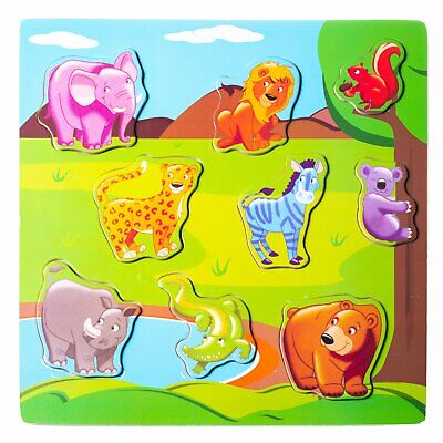 $ CDN10.23 • Buy Eliiti Wooden Safari Animals Puzzle For Toddlers 2 To 4 Years Old Boys Girls Toy