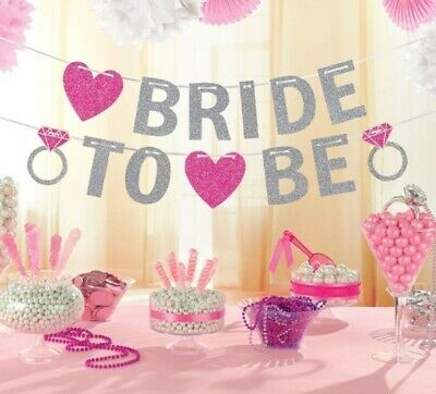 £4.49 • Buy Bride To Be Bridal Shower Glitter Banner Bunting Hen Night Party Decoration