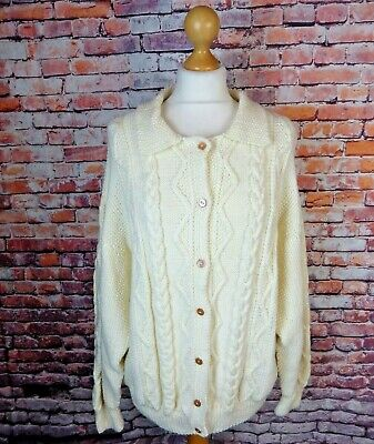 True Vintage Cable Aran Chunky Hand Knit Cardigan Cream Bust 46  18 L Wool Blend • 21.99£