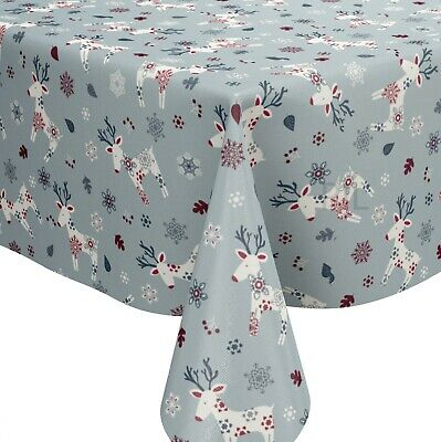 Scandi Christmas Reindeer Blue PVC Vinyl Wipe Clean Oilcloth Tablecloth • 4.99£