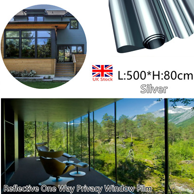 Mirror Reflective One Way Privacy Window Film Sticky Back Glass Tint80cm*5meter • 19.59£