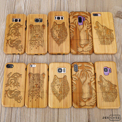 AU19.99 • Buy Carved Animal Tiger Leopard Wolf Bamboo Wood Phone Case For IPhone Samsung S8 9+