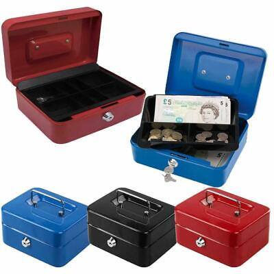 Money Bank Safe Metal Petty Cash Box Steel With Coin Tray Security Deposit Keys • 8.95£