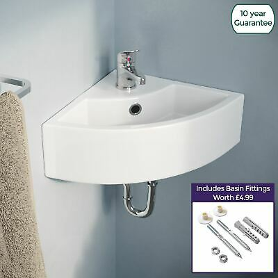 £54.99 • Buy Small Quarter Corner Basin Sink Wall Mounted With Mono Mixer Tap | Tulla