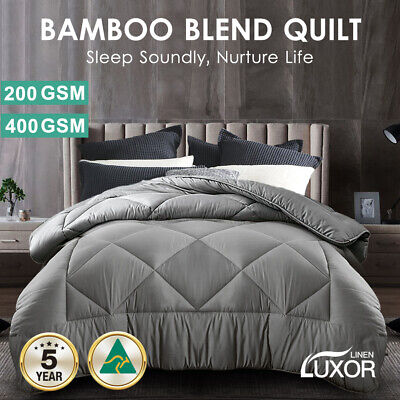 AU69.80 • Buy Aus Made All Size Microfibre Bamboo Winter Summer Quilt Duvet Doona Grey