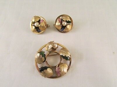 Vintage Sarah Coventry Wreath Brooch Pin & Clip On Earrings Set Blue Green Pink • 12.99$