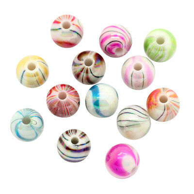 £1.20 • Buy ❤ 60 X Acrylic CANDY CANE Stripe 8mm Round SPACER Beads Jewellery Making ❤