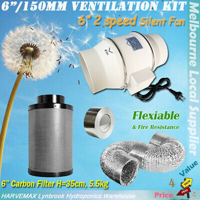 AU278 • Buy 6  Hydroponics Grow Tent Ventilation Kit 2 Speed Fan Carbon Filter Duct System