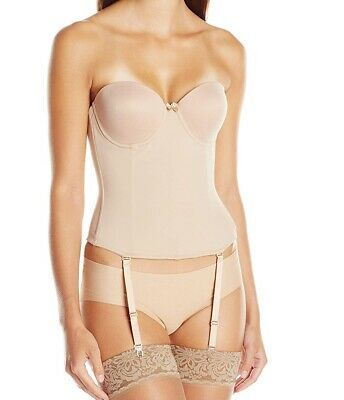 Va Bien Womens Bustier Beige USA 32C Ultra-Lift Low Back Hook & Eye $75- 953 • 18.99£