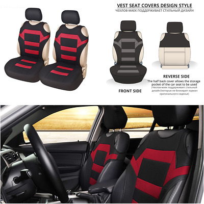 $ CDN33.45 • Buy 2Pcs Car Front Seat Covers Polyester Fabric T-shirt Design Protector Cushions