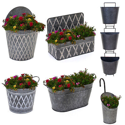 Galvanised Planters Garden Hanging Balcony Wall Mounted Flowers Metal Plant Pots • 12.99£