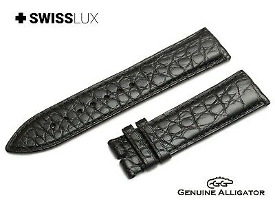 Crocodile Alligator Leather For OMEGA Watch Black Strap Band Buckle/Clasp Pins • 29.90£