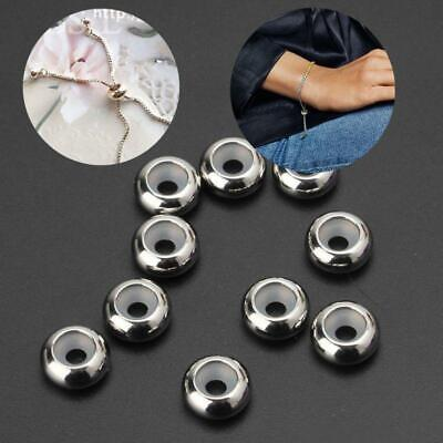 10Pcs Stainless Steel Rubber Insert Stopper Spacer Beads For Add-a-Bead Bracelet • 3.46£