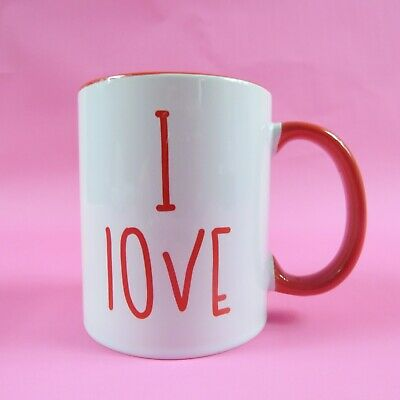 I Love Cock ~ Rude Valentines Mug ~ Personalised Mug ~ Red Handle Ock Mug • 9.99£