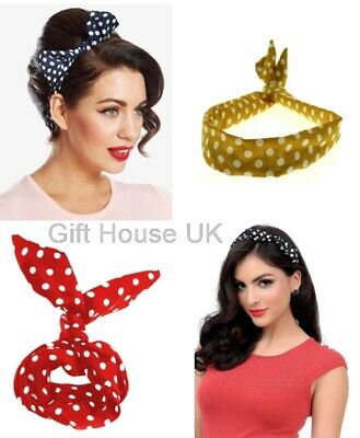 £2.95 • Buy Thick Polka Wired Headbands Retro Style Twisted Bands Vintage Hair Band Scarf B3