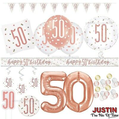 Rose Gold 50th Birthday Party Decorations Girls Ladies Balloons Banners Age 50 • 1.64£