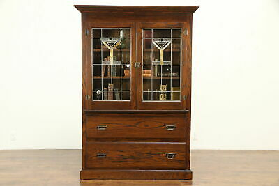 $1575 • Buy Arts & Crafts Mission Oak Antique Bookcase, China Cabinet, Leaded Glass #32002
