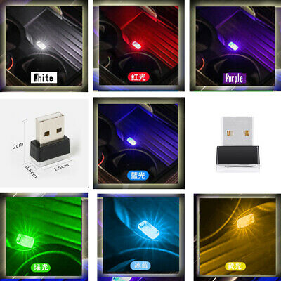 $1 • Buy 1× Mini USB LED Car Interior Light Neon Atmosphere Ambient Lamp Bulb Accessories