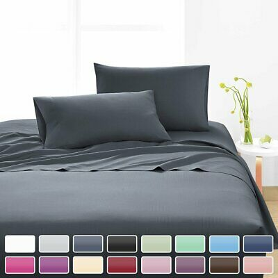 AU36.59 • Buy Comfort 4 PCS Deep Pocket Fitted Flat Hotel Bed Sheet Set Single Queen King Size