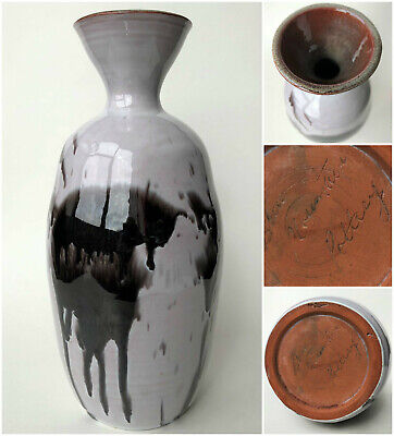 $ CDN78.50 • Buy Blue Mountain Studio Pottery Vase 10  Grey Black Ghost Glaze Rare Signature Mark