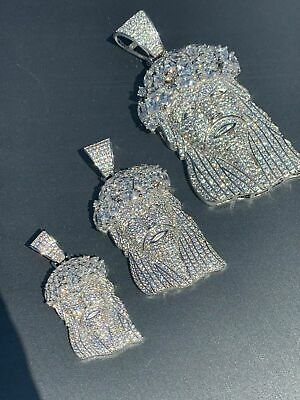 $38.68 • Buy Real Mens Solid 925 Sterling Silver Jesus Piece Flooded Out Pendant Really Iced