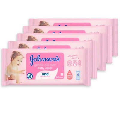 AU23 • Buy 5x 56PK Johnson's Infant/Baby Wipes Gentle Skin F/Nappy Changing/Facial Cleaning