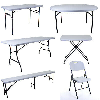 White Blow Moulded Furniture Outdoor Garden Camping Tables Chairs Benches Seats • 89.99£