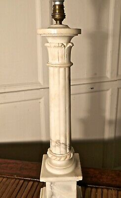 Tall White Marble Corinthian Column Table Lamp • 850£