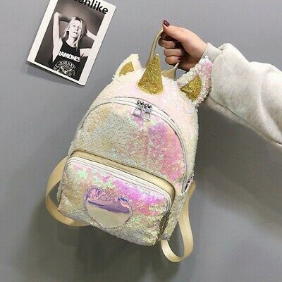 $13.99 • Buy Fashion Unicorn Glitter Bling Backpack Women Girls Shoulder Bag School Daypack