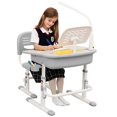 Kids Desk Chair Height Adjustable School Desk With LED Lamp Bookstand • 125£