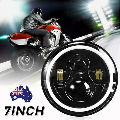AU35.79 • Buy 7  Inch Motorcycle Round LED Headlight High Low Beam  Angle Eyes For Harley