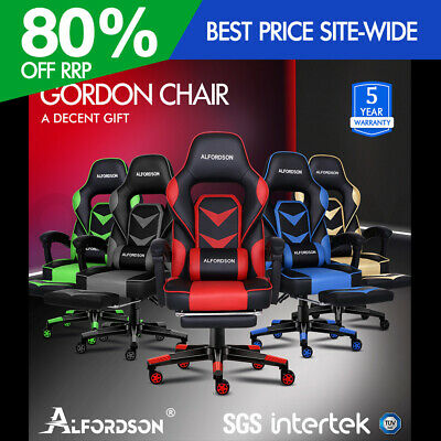 AU209.95 • Buy ALFORDSON Gaming Chair Office Seat Generous Padding Footrest Executive Racing
