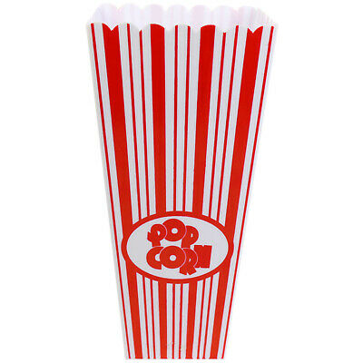 Red White Stripes Reusable Plastic Popcorn Holder Container Movie Cinema Film • 6.95£