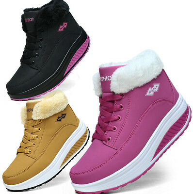 Womens Warm Fur Lined Wedges Ankle Trainers Boots Shape Up Toning Sports Shoes • 19.99£