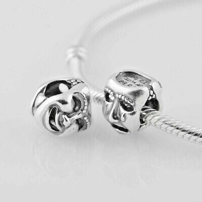 £11.95 • Buy Comedy Tragedy Theatre Mask Charm Bead 925 Sterling Silver