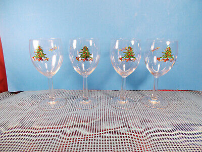 $14.95 • Buy Tienshan China Holiday Hostess Pattern 4 Glass Water Goblets 7 1/4  X 3