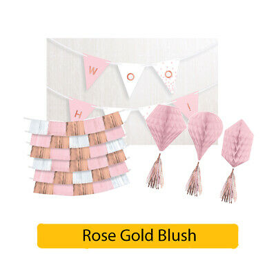 ROSE GOLD BLUSH Party Decorations Range - Birthday Wedding Special Occasions • 6.95£
