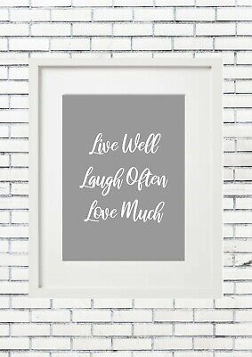 £20 • Buy LIVE WELL LAUGH OFTEN LOVE MUCH Typography Inspiring Inspirational Quote Decor