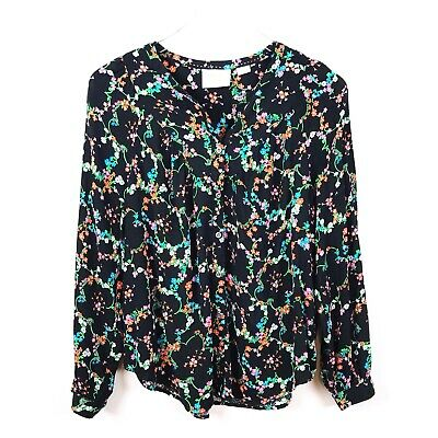 $ CDN35.75 • Buy Anthropologie Medium Maeve Black Multicolor Floral Printed Blouse Button B24
